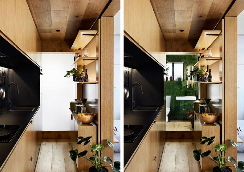 This 35-Square-Meter Apartment Hides Bedroom Behind Sliding Walls