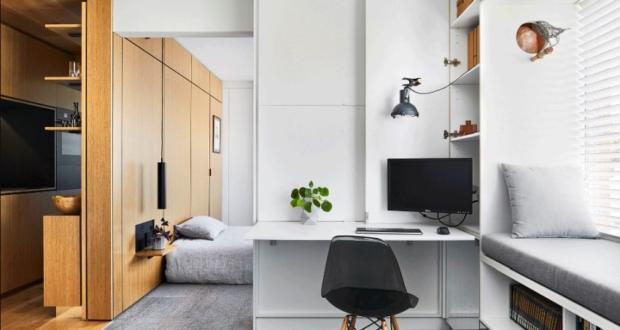 tsai design apartment hides bedroom behind sliding walls-Apartment living