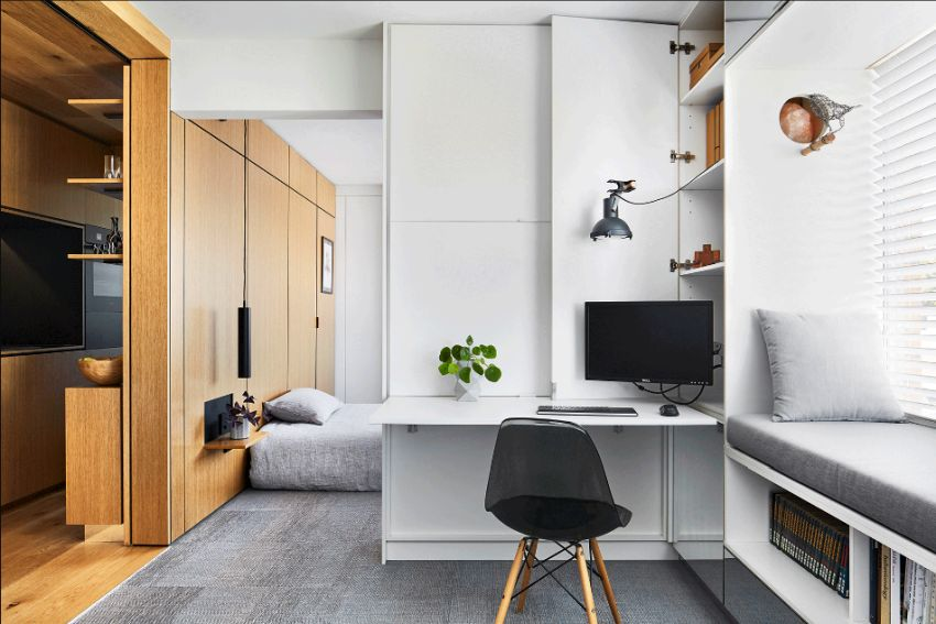tsai design apartment hides bedroom behind sliding walls-Apartment living