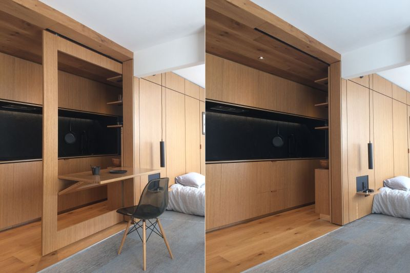 tsai design apartment hides bedroom behind sliding walls