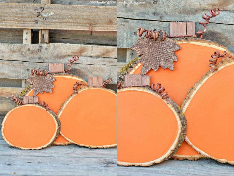 wood slice pumpkin