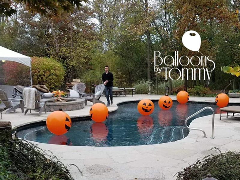 Pumpkin decoration for Halloween pool party
