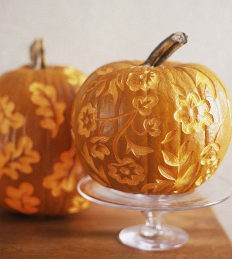 Floral Carved Pumpkin