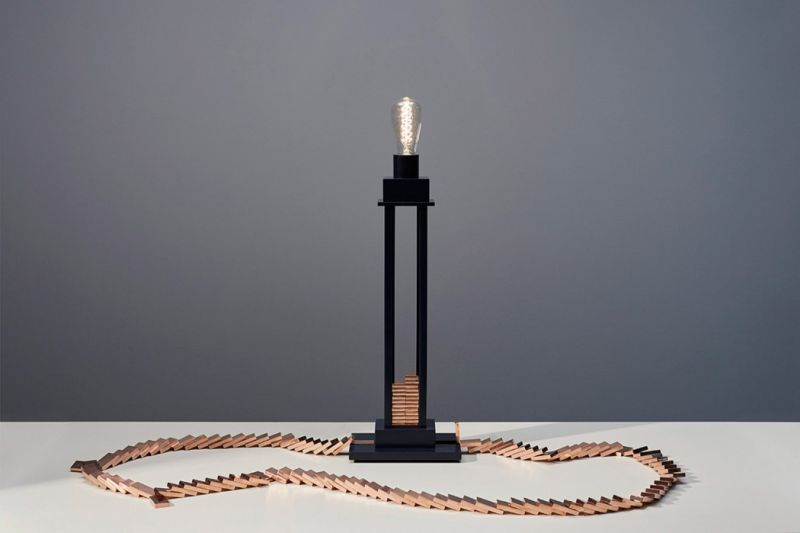 Glithero Taps Physics to Create Domino Lamp