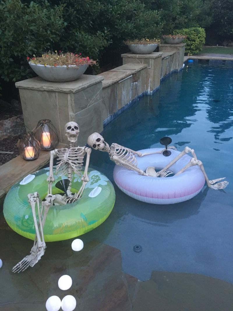 skeleton decoration for Halloween pool party