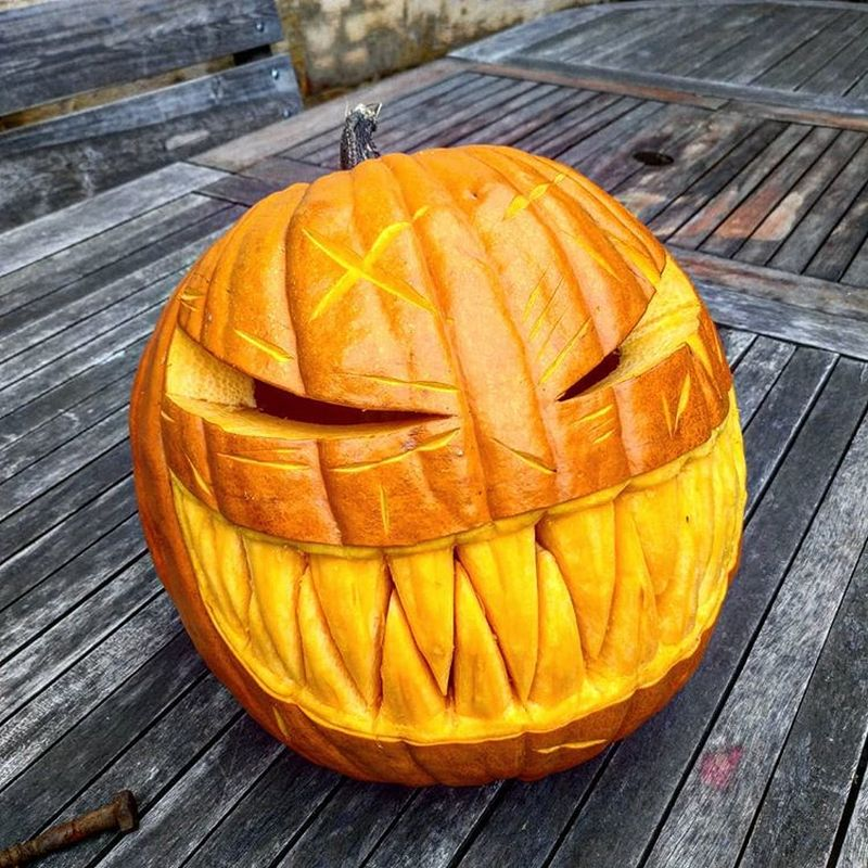 Nightmare carved pumpkin