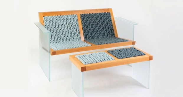 Purl Settee by Durodeco Sits on Glass Legs