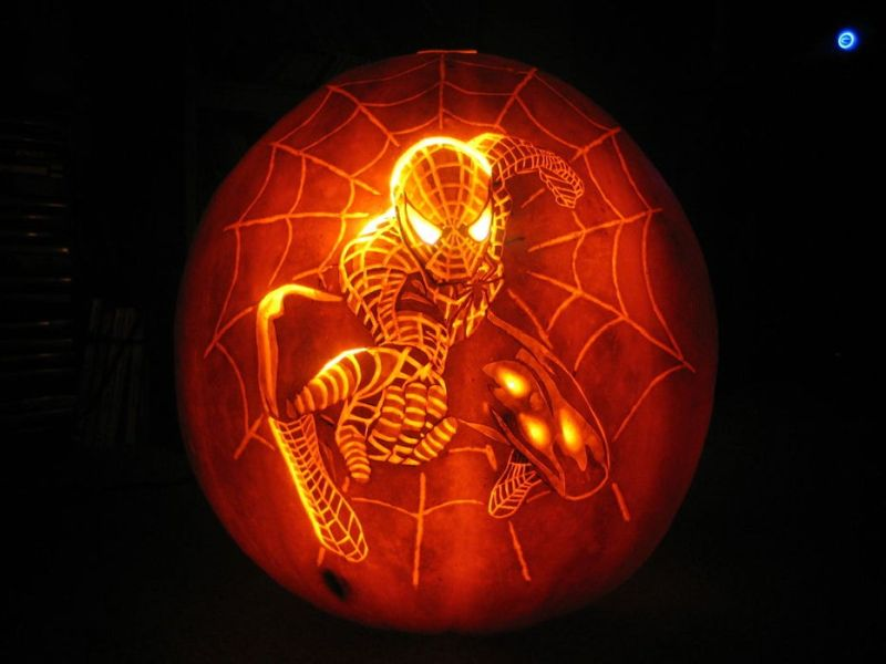 Spider man carved pumpkin