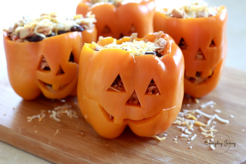 Stuffed Bell Peppers for Halloween