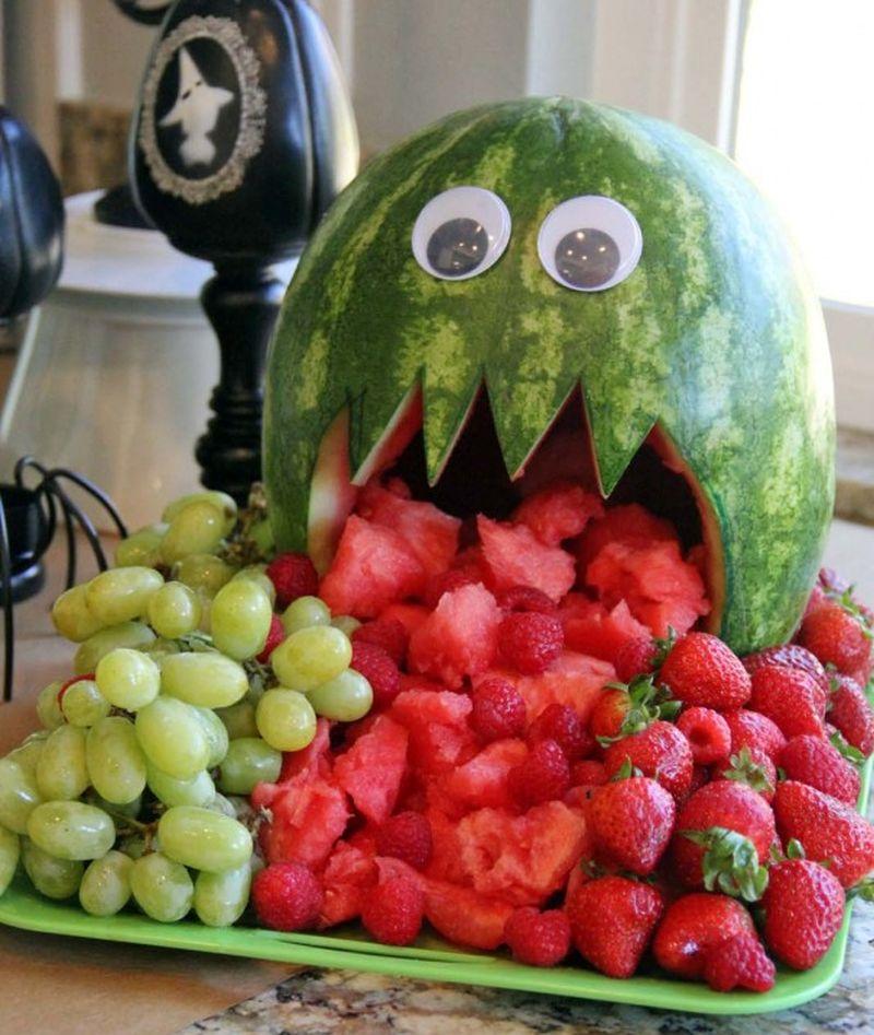 Watermelon jack-o'-lantern