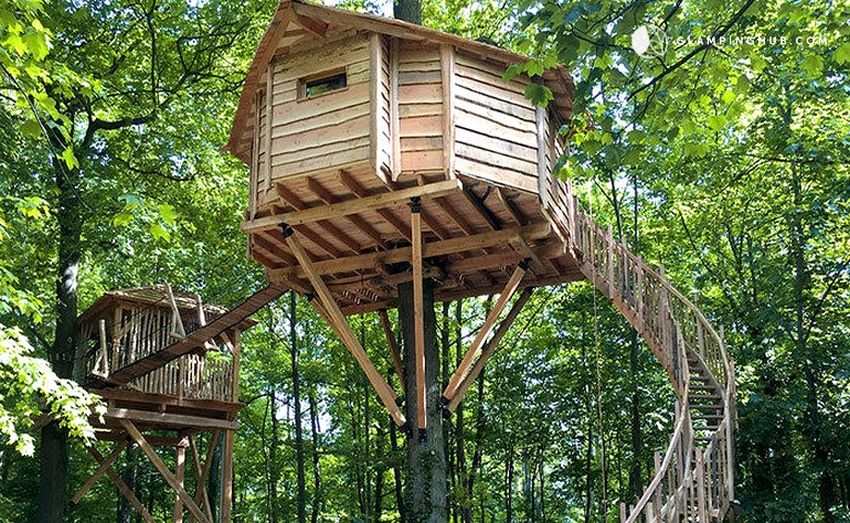 orb-shaped tree house near Senlis Cathedral in Raray, France