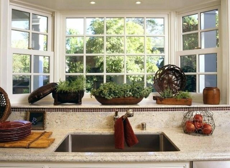 Modern bay and bow windows for kitchen