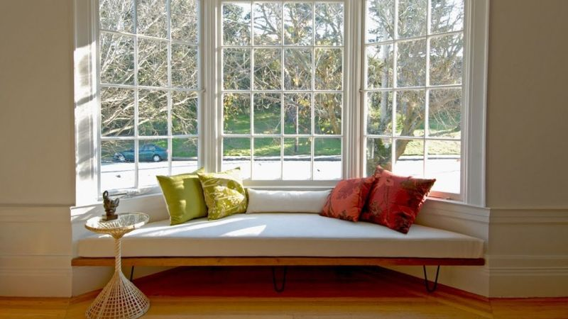 Modern bay and bow windows with seating