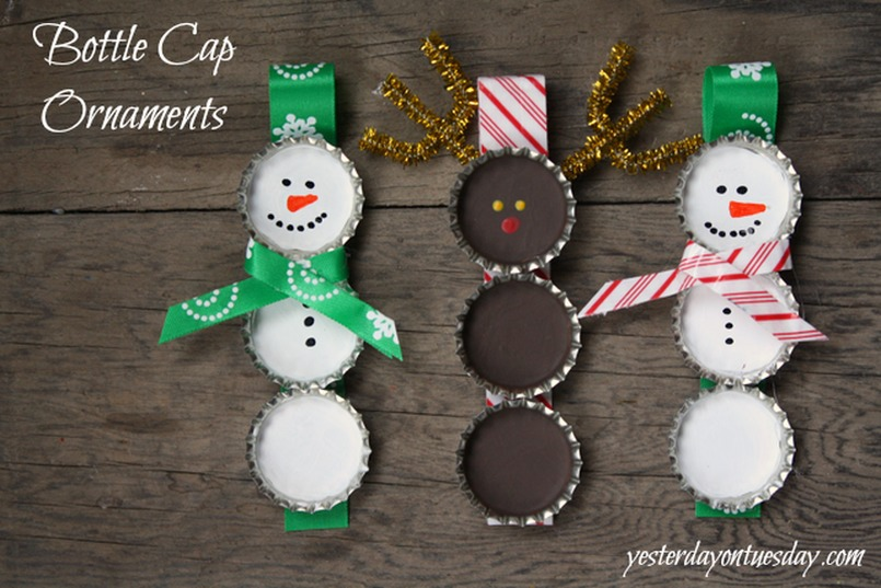 Bottle Cap Snowman Christmas Tree Ornament