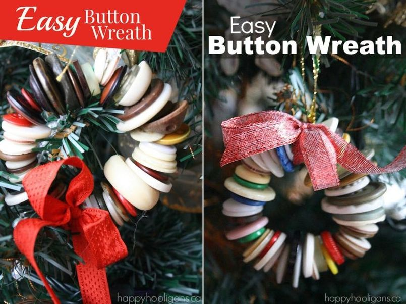 Button Wreath Christmas Tree Ornament