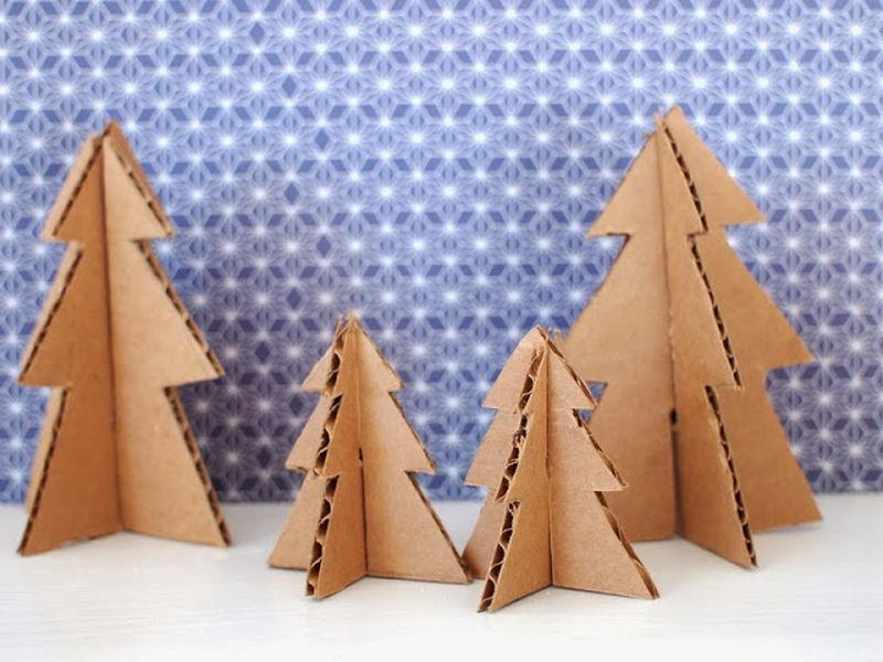 DIY Cardboard Mini Christmas trees