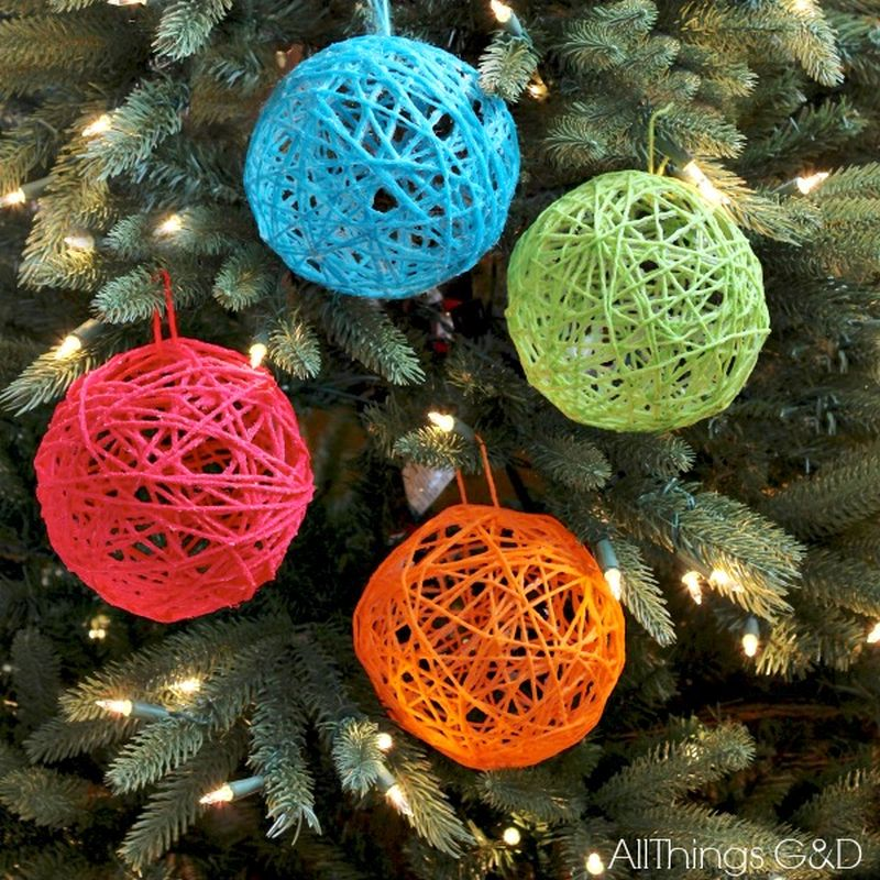 DIY Yarn Ball Christmas Ornaments
