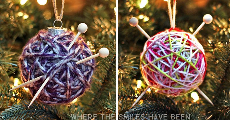 DIY Yarn Ball Christmas Ornaments_1