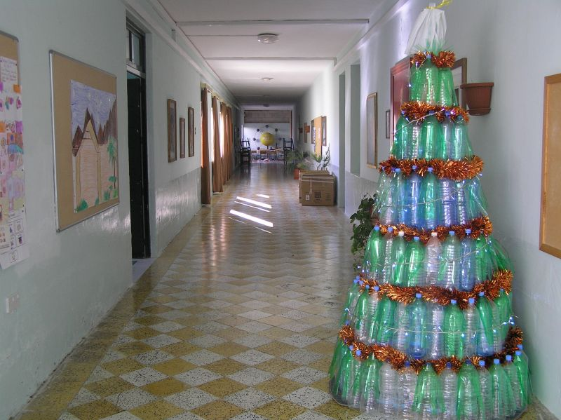 Christmas tree out of plastic bottles