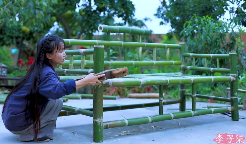 Li Ziqi Makes Bamboo Furniture Without Nuts and Bolts