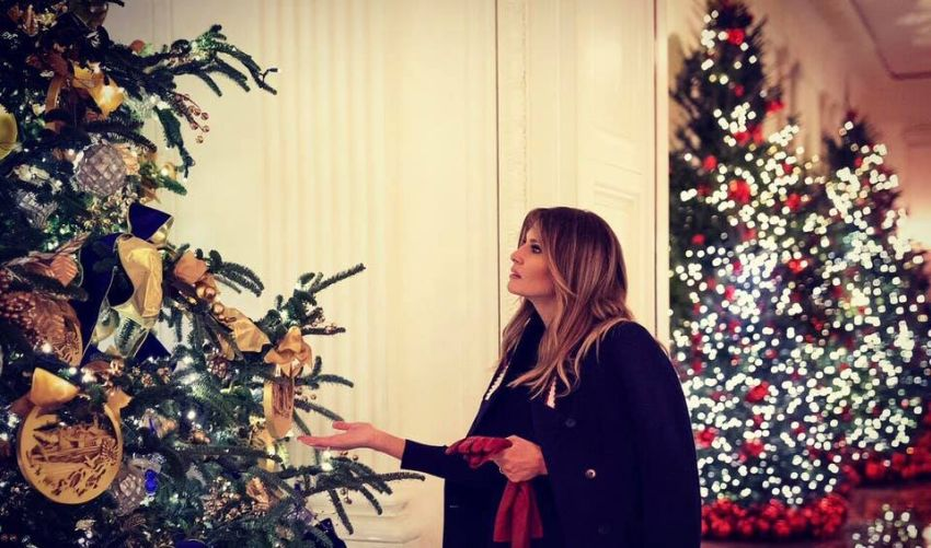 Melania Trump's Red Christmas Trees