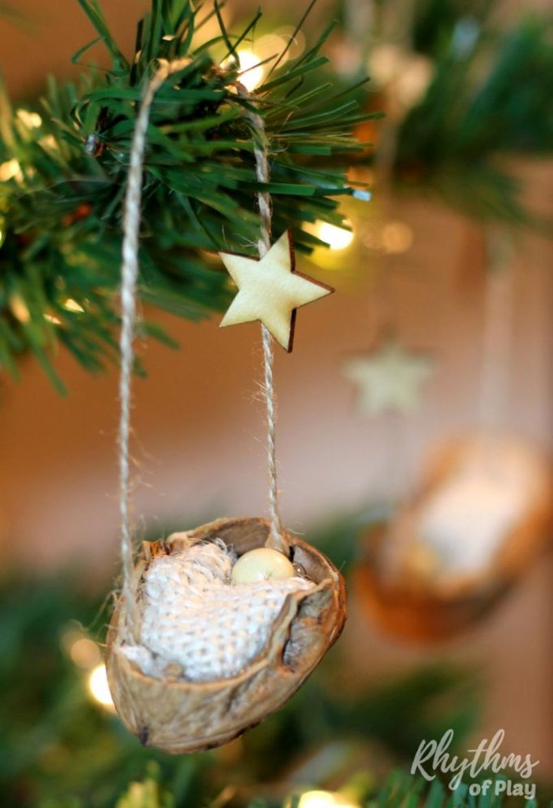 Walnut Shell Christmas Tree Ornament