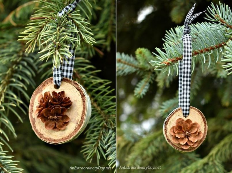 Wood slice Christmas tree ornament