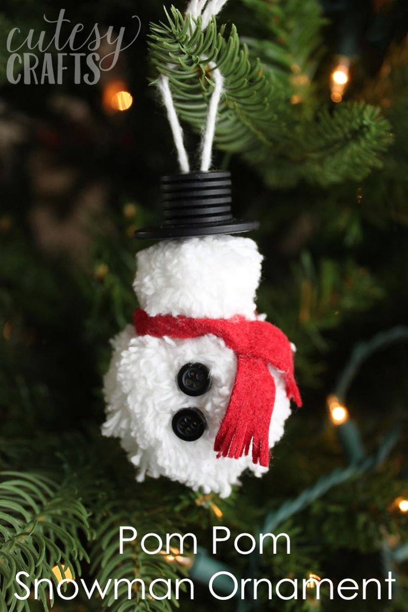 Yarn snowman Christmas tree ornament