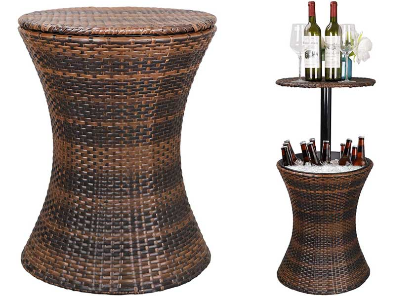 ZENSTYLE-Height-Adjustable-Bar-Table-and-Ice-Bucket-Combo