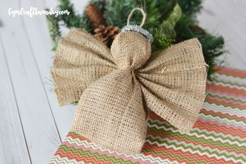burlap angel Christmas tree ornament