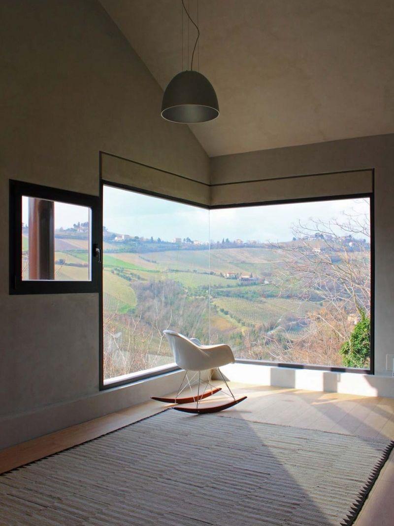 Modern corner picture windows design for living room