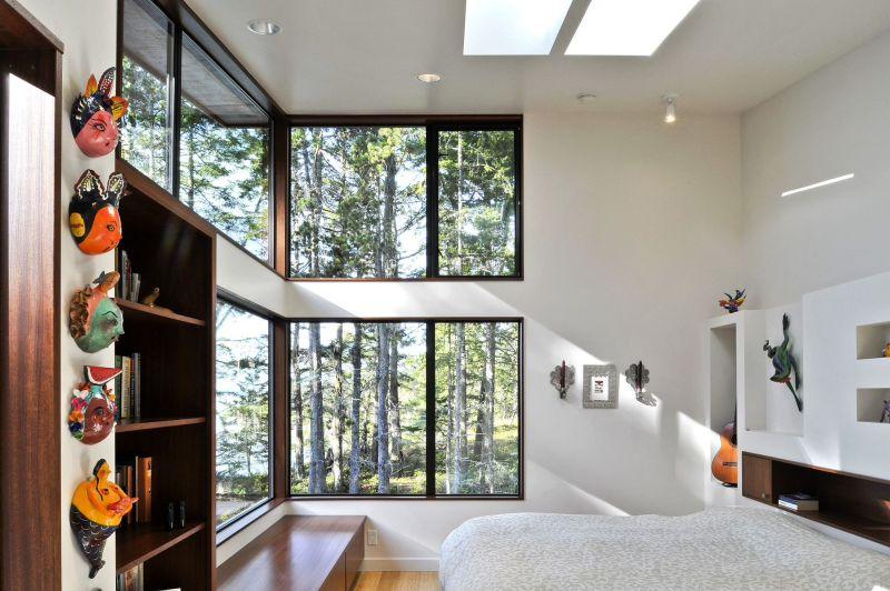 Modern corner windows for bedroom
