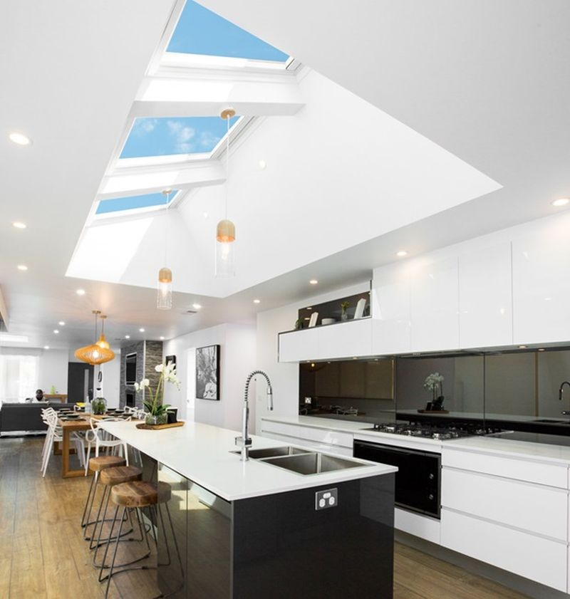 Modern skylight windows design for kitchen