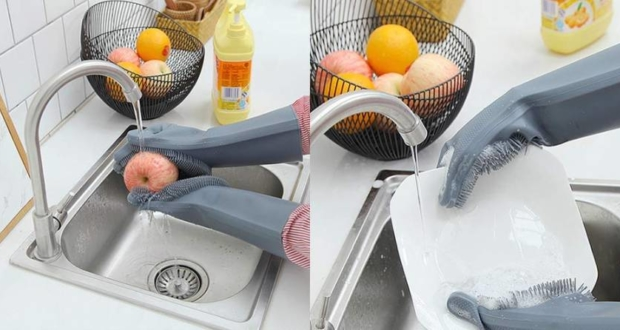 Dishwashing scrubber gloves