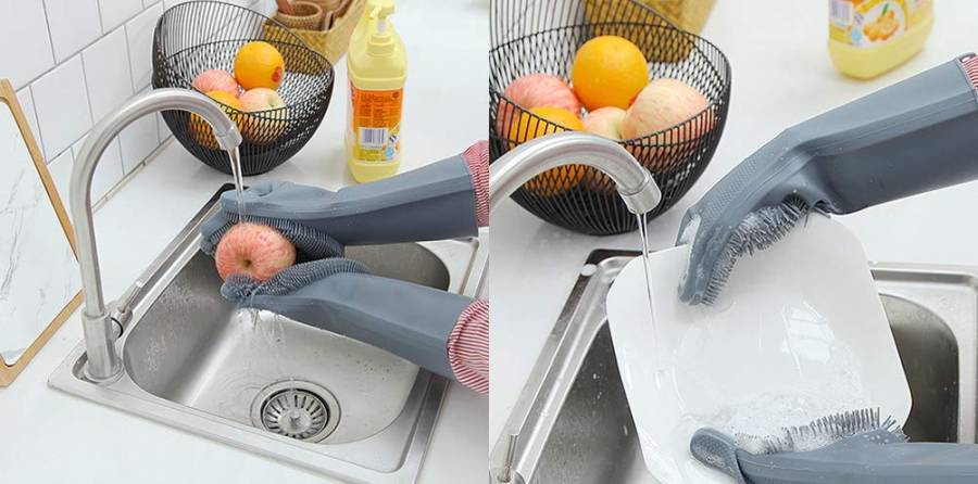 Dishwashing scrubber gloves