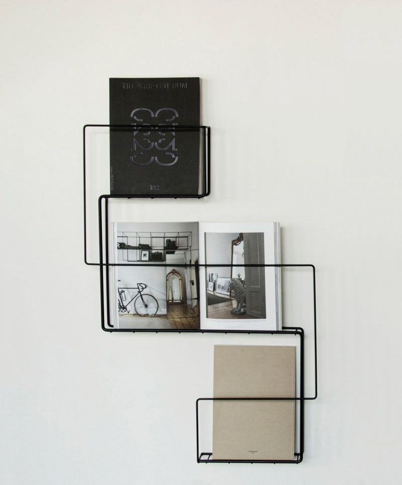 Wire magazine shelf by Anna-Maria Nilsson
