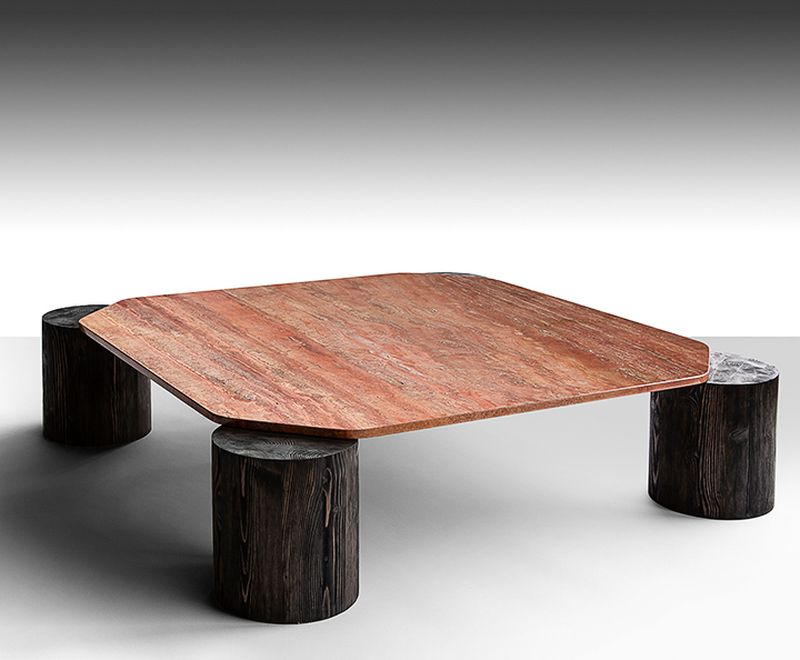 Coffee Table with Tree Trunk Legs & Verde Marble Top