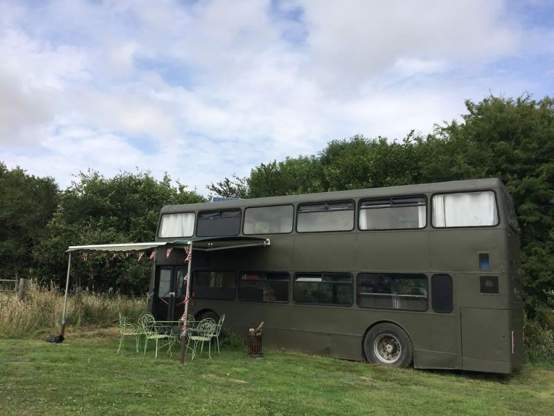Bertie Double-Decker Bus Home in Sturminster Marshall Village, England