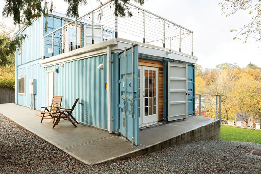 Julianna Carlson Builds her own Two-Story Shipping Container ... on prefab home plans, semi-trailer home plans, conex container homes plans, storage trailer home plans, three story home plans, sip home plans, 5 bed home plans, warehouse home plans, barn home plans, conex box home plans, shipping containers into homes, steel home plans, shipping crate homes plans, 28 x 40 home plans, large garage home plans, off grid home plans, classic home plans, 24x40 home plans, v-shaped home plans, shipping containers for homes,