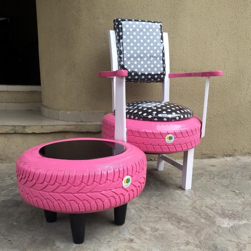 Nigerian Woman Turns Used Tires into Furniture