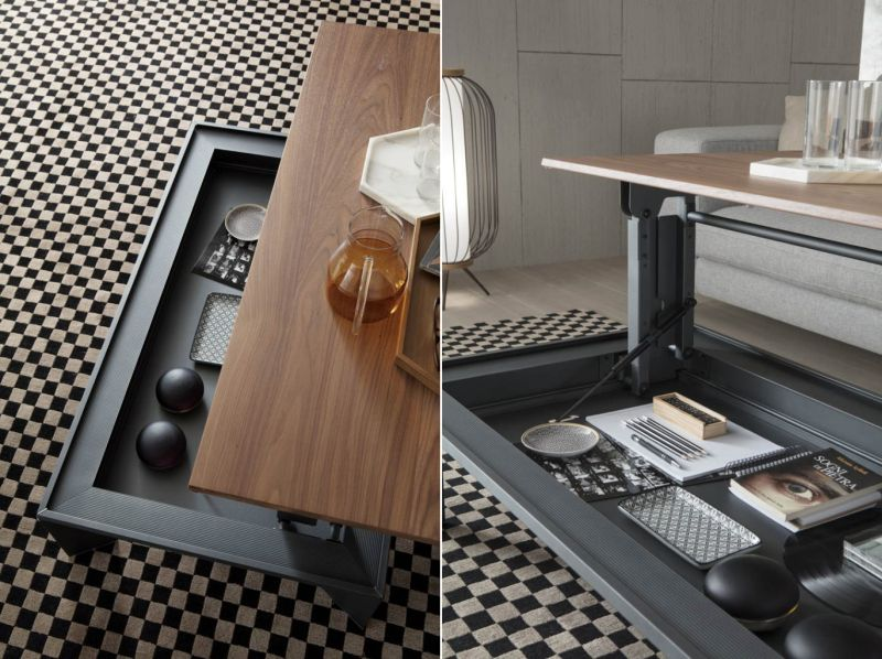 Ozzio Italia's Metrino Height-Adjustable Coffee Table