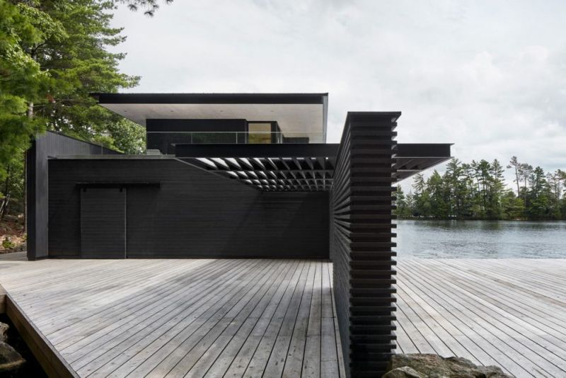 Two-Story Boathouse in Tobin Island by Akb Architects