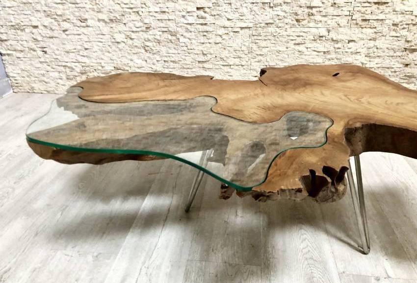 teak coffee table with glass bilbo
