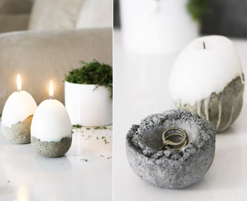 Adorable DIY Concrete Easter Candle by Lily Ardor