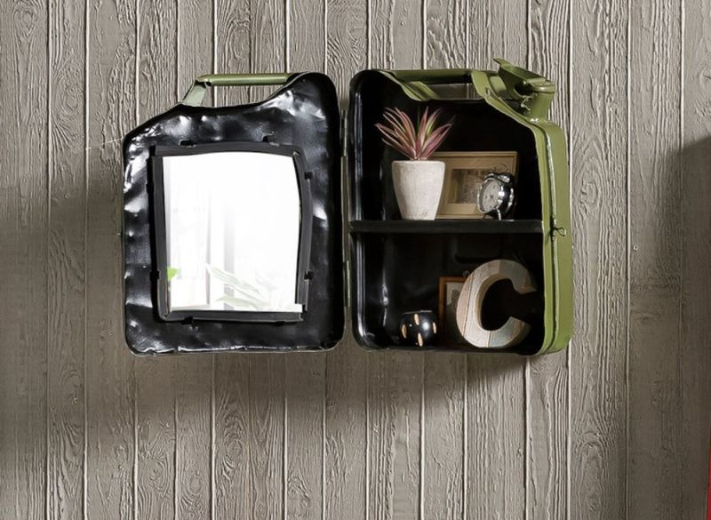 Industrial Style Bathroom Cabinet Made from Metal Jerry Can from WWII
