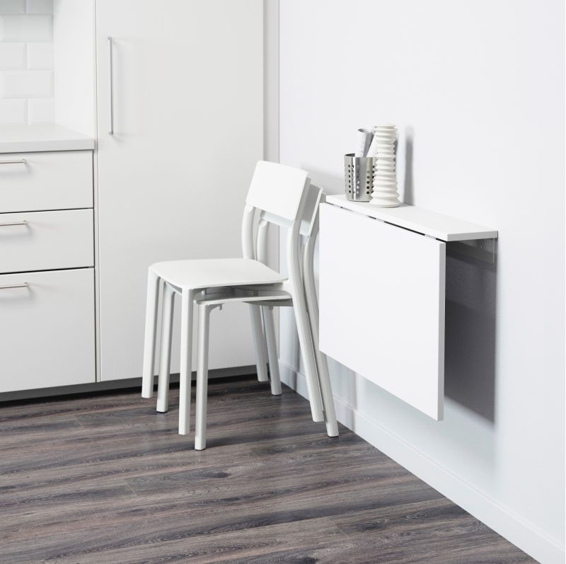 Wall-mounted fold down table for small space