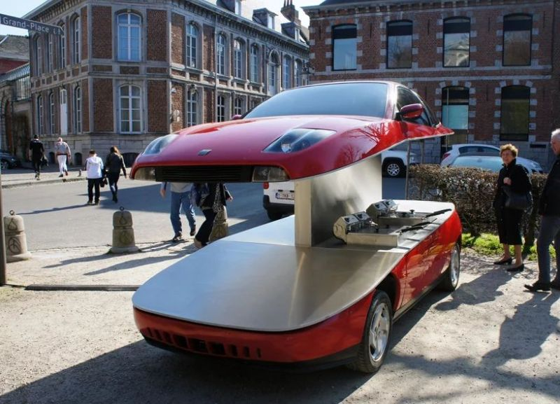 Red Fiat Coupe into Street Food Car