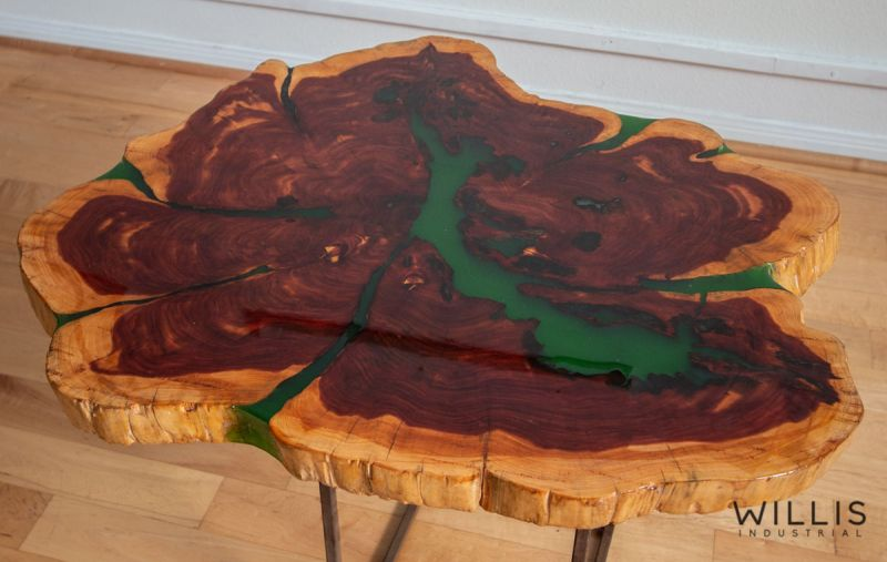 Live Edge Round Table with Green Epoxy