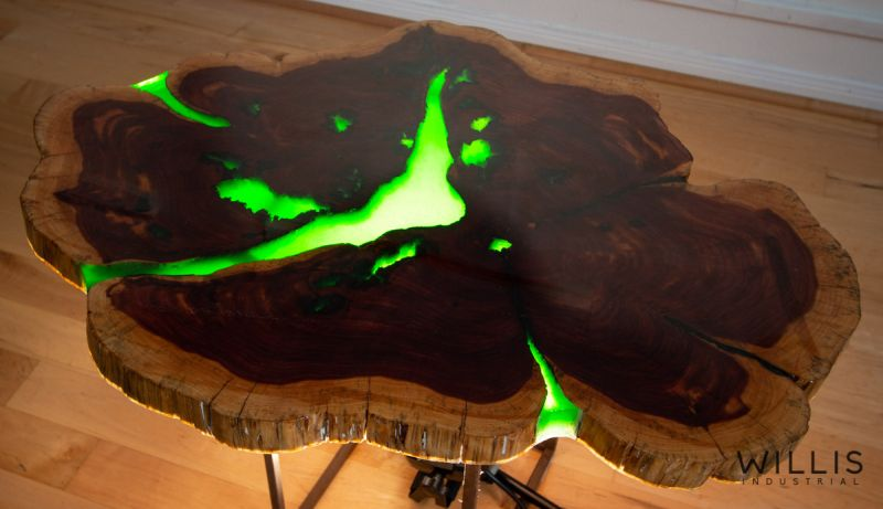 Live Edge River Table With Green Epoxy Resin By Willis