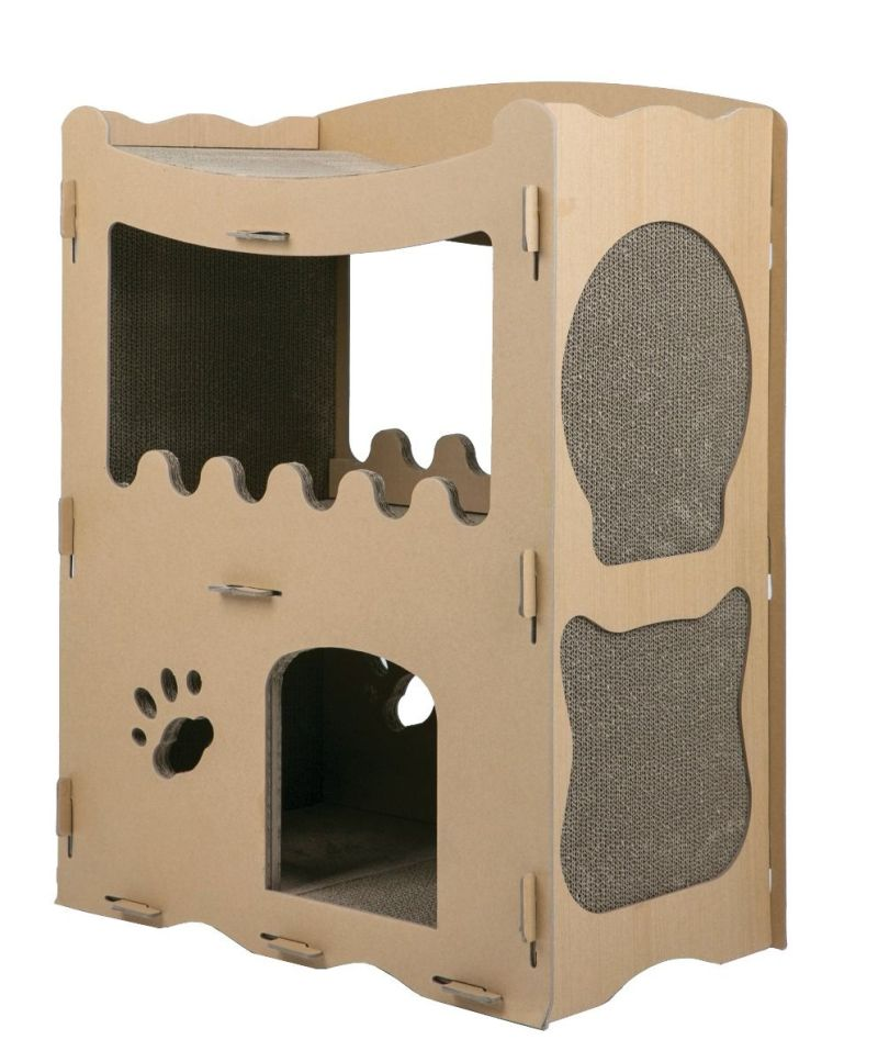 Petique's Cat Penthouse with Multiple Scratch Pads and Lounging Roof